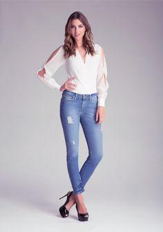 Bebe Slim Atlanta Jeans in Blue (denim) | Lyst