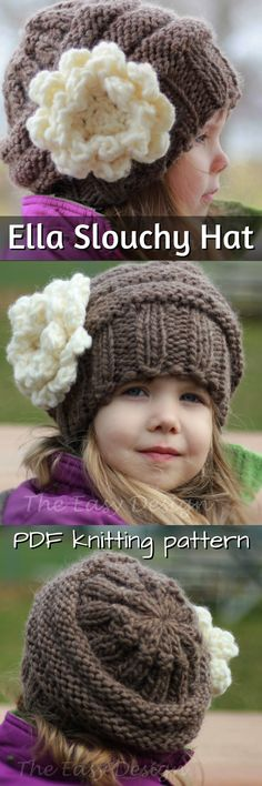Adorable slouchy hat knitting pattern for a little girl. Lovely large flower applique... it looks crocheted though. Super cute. #etsy #ad #knitting #pattern #beanie #hat #toque
