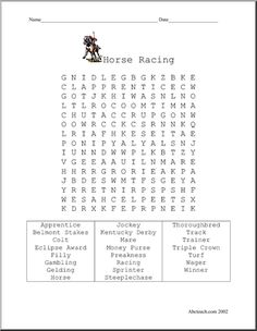 "Word Search: Horse Racing - From ""apprentice"" to ""winner""."