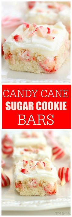 Candy Cane Kisses Bars The Girl Who Ate Everything Sugar Cookie Bars, Cookie Desserts, Holiday Desserts, Holiday Baking, Just Desserts, Holiday Recipes, Cookie Recipes, Delicious Desserts, Dessert Recipes