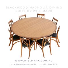 Inspired by the smooth flowing lines of the Magnolia tree, this round dining table is designed and hand shaped by Will Marx from the beautiful Australian Tasmanian Blackwood species. Worldwide shipping available. Every furniture comes with a 10 year warranty on construction. If you are interested in having a custom made fine furniture designed and made by Will Marx for your home or office, please do not hesitate to contact Will on will@willmarx.com.au or +61 7 3348 2170