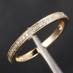 Pave Diamond Wedding Band Half Eternity Anniversary Ring 14K Yellow Gold - Milgrain