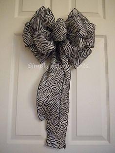 Black white Zebra Stripes Christmas bow by SimplyAdornmentsss