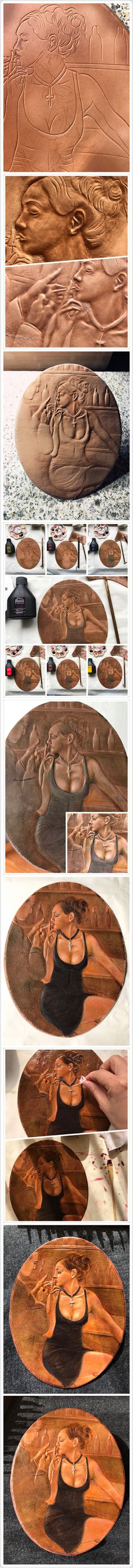 Smoking girl leather carving procedure. The pattern is transferred from a painting belongs to the artist Fabian Perez.#leather#carving#leather carving