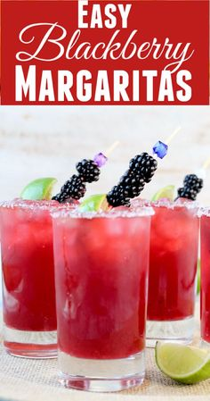 Nadire Atas on Margarita Cocktails Easy Blackberry Margaritas are the perfect cocktail for parties and get togethers with friends! It's a sweet version of a classic margarita with tons of fresh blackberry flavor. Cocktails For Parties, Easy Cocktails, Summer Drinks, Fun Drinks, Tequila Drinks, Pool Parties, Beverages, Easy Alcoholic Drinks, Sweet Cocktails