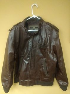 VTG MEMBERS ONLY BROWN LEATHER CAFE RACER BOMBER BIKER JACKET COAT INDIE sz L T | Clothing, Shoes & Accessories, Men's Clothing, Coats & Jackets | eBay!