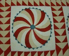 Detail, Antique Hand Stitched PIN WHEEL QUILT EXQUISITE STITCHING 67x59"""