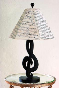 Black Treble Clef Table Lamp with Sheet Music Shade- I like