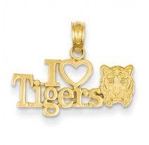 14K I Heart Tigers Pendant