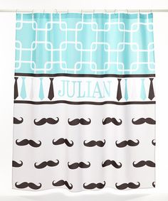 WANT!  Look at this Teal & Gray Mustache Personalized Shower Curtain on #zulily today!