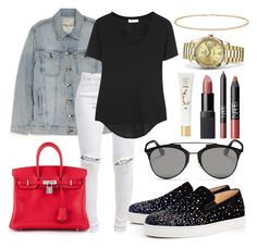 """""""Sem título #263"""" by justfash ❤ liked on Polyvore featuring Current/Elliott, FiveUnits, Christian Louboutin, Helmut Lang, Hermès, Yves Saint Laurent, NARS Cosmetics, Christian Dior, Anne Sisteron and Rolex"""