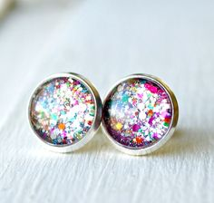 firecracker silver plated post earrings by pixiestrinkets on Etsy, $10.00