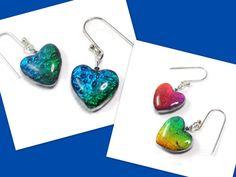 Reversible Heart Earrings Sapphire & Emerald Heart by BeadazzleMe