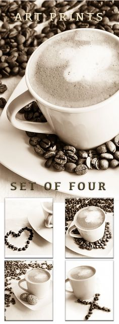 Coffee Photographs - Set of Four 4 Photos - Coffee Photography - Still Life Food Art, Kitchen Pictures, Dining Room Decor, Coffee Prints Set