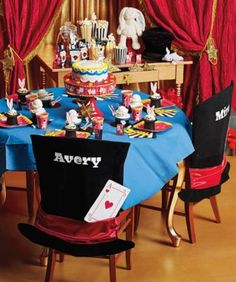 Whip up a dazzling magic party that will delight one and all. Set the scene with dramatic place settings featuring black top hats, white rabbits, card tricks and games.