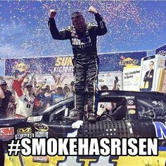 It was a long 84 races wasn't it... A long time... Going through so much adversity (the dirt track incident, multiple injuries) to finally get back to victory lane! Welcome back, Smoke! You've risen! #NASCAR #NASCARMemes #SmokeHasRisen