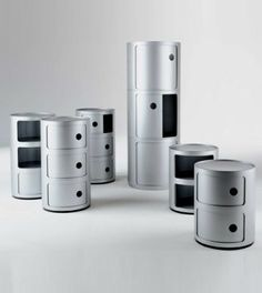 Componibili. The Componibili is available in two diameters, 12.5″ and 16.5″. The 12.5″ diameter is available as either double tiered or triple tiered storage units. The 16.5″ diameter is a modular system. There are three pieces available, two separate storage units and a closure lid. The small single unit is just over 9″ and the large single unit is just over 15″. They will stack in any configuration, only one closure lid is necessary per tower.