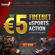 Tipbet is offering 5 € Freebet on eSports betting! New and existing customers can benefit from this amazing offer, as no deposit is required. Tipbet sports betting with Top-Odds on eSports ›› Tipbet.com/eSPORTSFREE ‪#‎eSports ‪#‎CSGO ‪#‎Dota2 ‪#‎LoL ‪#‎St