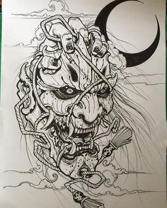 Sketches for tattoo Another collection of different sketches for future tattoos, for your tattoo master. In this collection you will find both masks of different fantastic creatures and just beautiful sketches Oni Tattoo, Raijin Tattoo, Hanya Mask Tattoo, Irezumi Tattoos, Tattoo Sketches, Tattoo Drawings, Body Art Tattoos, Art Drawings, Evil Tattoos