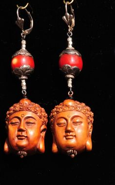 Wood carved Buddhas, Cherry Amber, Silver available