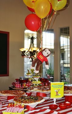 : Curious George birthday pizza buffet. Cute.. We did curious george pizza party for Brian's 1st bday! :):)