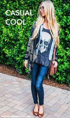 BLONDER AMBITIONS   CASUAL COOL fashion. lifestyle. blog. blogger. fashion blog. layers. skulls. chambray. aztec print. skinny jeans. blonde. geek glasses.