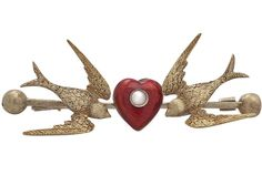 Antique Victorian Pearl and Enamel 'Sentimental' 15ct Yellow Gold Bird and Heart Brooch (c. 1880 Unknown) from AC Silver | The UK's Premier Antiques Portal