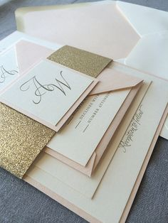 Impress your wedding guests with this showstopper of a design! The Blush and Gold Elegant Calligraphy invitation features a mix of traditional script and block fonts with matching glitter belly band. Glitter Wedding Invitations, Wedding Invitation Samples, Letterpress Invitations, Invitation Suite, Invites, Traditional Wedding Invitations, Classic Wedding Invitations, Elegant Wedding Invitations, Wedding Paper