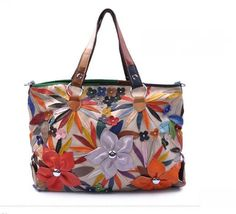 Fashion Purse /// Whiter Leather Patchwork Flower by leatherkoo, $125.00