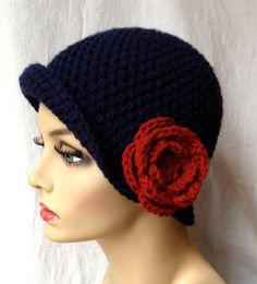 Crochet Womens Hat Navy Blue Cloche Red Rose by JadeExpressions, $42.00