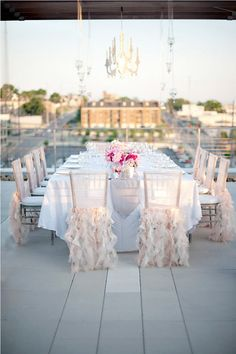 Outdoor Wedding Reception - clean, elegant, table setting, chair covers with ruffles