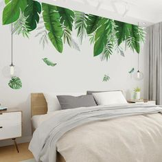 palm leaf banana wall sticker art wall tropical bedroom living room wall decals poster home decor murals