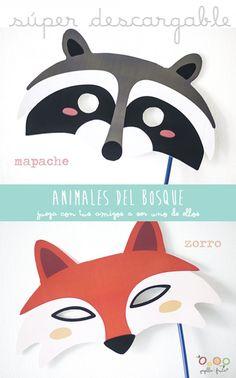 Woodland animal masks freebie by papilladefruta