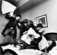 Beatles Pillow Fight by Harry Benson 1964, after they first found out they were number 1. Price on Request. #blackandwhite #HarryBenson