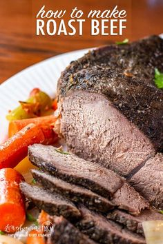 Learning how to make roast beef is easy and makes a delicious meal for any day of the week.Make it in the slow cooker or oven for a hands-free dinner! Slow Cooked Roast Beef, Oven Roast Beef, Roast Beef Dinner, Cooking Roast Beef, Roast Beef Recipes, Meat Recipes, Cooking Recipes, Healthy Recipes, Korean Recipes