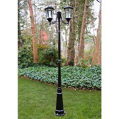 "Victorian 87"" High Solar-Powered LED 2-Light Post Light"