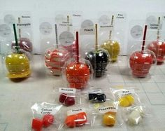 DIVINE FLAVORS Custom made flavored candy apples. Created by Divine Flavors  Candy Apple Flavors: Banana, Pineapple, Peach, Mango, Cotton Candy, Cherry, Watermelon, Fruit Punch, Cherry Cheesecake, Green Apple, Pina Colada, Lemon Strawberry, Caramel with/without nuts...
