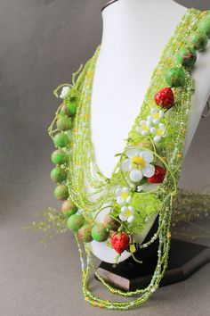 Lampwork Necklace Handmade Glass Flower by JewelryBeadsByKatie