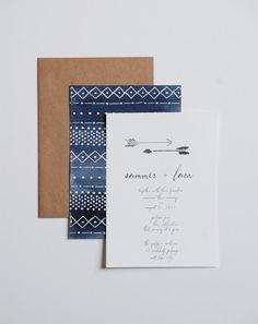 Watercolor Tribal Wedding Invitation with Arrows