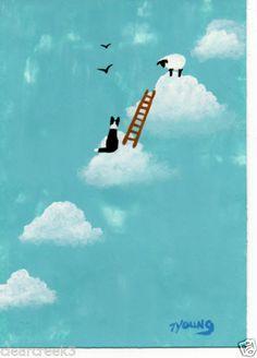 Border Collie Dog Sheep Ladder Heaven Memorial Folk Art Print Todd Young Clouds   eBay