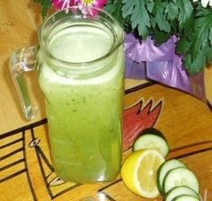 REFRESHING GREEN LEMONADE    A trio of cleansing pale green veggies—cucumber, lettuce, and sprouts—make this a super-charged lemonade. This blended juice is incredibly refreshing on a hot summer day. Try some of the variations suggested, or alter it to suit your taste.