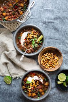 {Butternut squash and lentil chili with smoky cashews.}