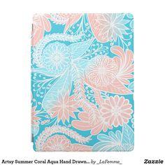 Artsy Summer Coral Aqua Hand Drawn Floral Pattern iPad Pro Cover