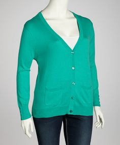 Take a look at this Green Cardigan - Plus by Jenny on #zulily today!