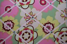 Sage green with pink and yellow flowers french memo board, by two dot designs, on etsy