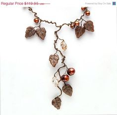 Brown Statement Necklace Nature Inspired by CherylParrottJewelry
