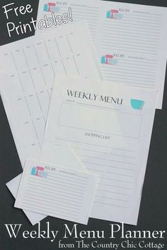Free printable weekly menu planner system -- includes free printable recipe cards as well!
