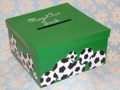A sports themed money box is the perfect way to accept the gift cards your guests will be giving on the day of your special event. This box displays soccer balls, but can be changed along with the colors. Kinder Valentines, Valentine Day Boxes, Valentine Ideas, Bar Mitzvah Party, Bat Mitzvah Gifts, Football Card Boxes, Bar Mitsva, Soccer Baby Showers, Soccer Theme