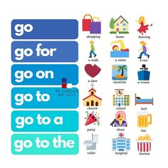 Collocations with Go . Reposted from . English Learning Spoken, English Speaking Skills, Teaching English Grammar, English Writing Skills, English Vocabulary Words, Learn English Words, English Language Learning, English Lessons, Primary English