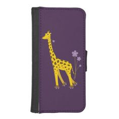 Purple Roller Skating Funny Cartoon Giraffe iPhone 5 Wallet Case $24.95 #iphonecase #iphone #case #giraffe